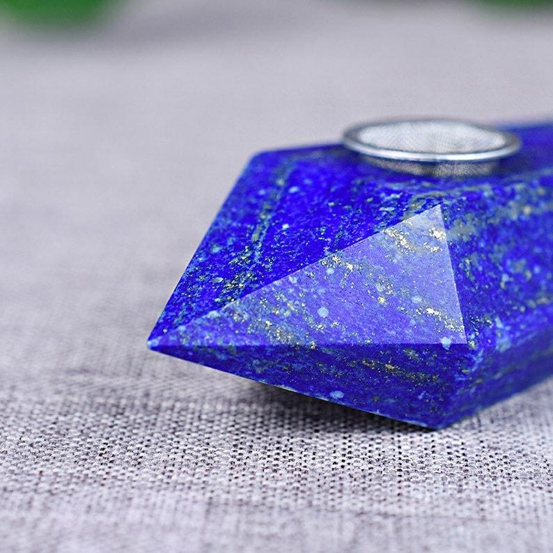 1 Pcs Natural Lapis Lazuli Point Wand Shape Faceted Healing Crystal Smoking Pipe Tobacco Pipe Crystal Stone Natural Lapis Lazuli Jewelry