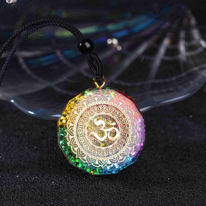 Orgonite Pendant Om Symbol Necklace Sacred Geometry Chakra Energy Necklace Meditation Jewelry EMF Protection Chakra Healing