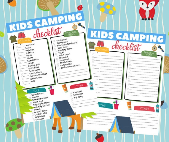 Kid's Camping Checklist instant download camping