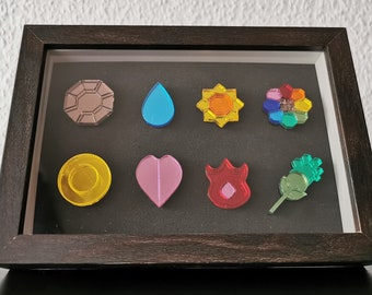 Pokemon Kanto Badges Shadow Box - Display with mirrored acrylic Pins