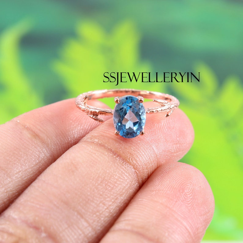 December Birthstone Statement Ring Gift For Her Swiss Blue Topaz Ring Engagement Ring Wedding Ring Natural Topaz 925 Sterling Silver