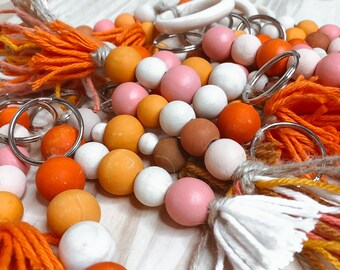 ACCESSORIES   Painted Wood Beaded Keychains   Colorful Tassel/Beaded Keychains