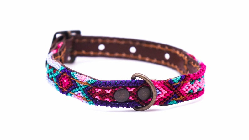 Size XXS Unique craft work Colorful Mexican dog collar in leather and traditional weaving
