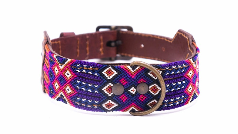 Unique craft work Colorful Mexican dog collar in leather and traditional weaving Size M