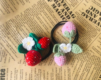 3D Crochet strawberry with floral elastic hair ring- sheadline