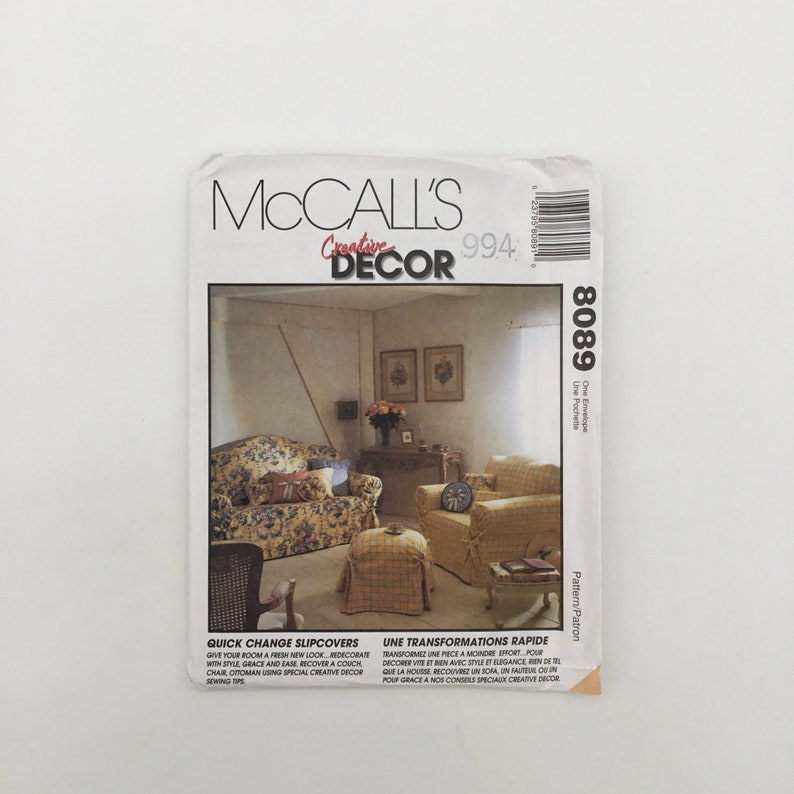 McCall's 8089 1995  Couch Chair and Ottoman image 0