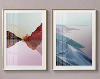 Nordic Red and Blue - Set of 2 - Premium Prints - Exclusive to Karma Artz - Landscape - Abstract