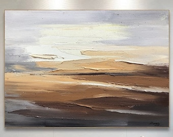 Oversized Abstract Painting,large abstract landscape painting, skyline 3D texture painting, modern living room abstract painting,Neutral Art