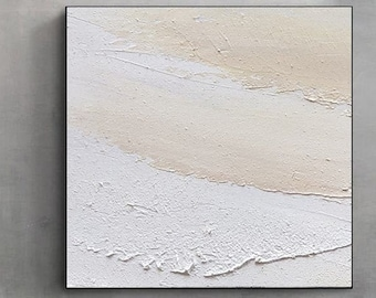 Large Abstract White Painting, 3D Beige Textured Painting, Beach Texture Painting, Ocean Wall Art, Coastal Beach Art, Textured seascape