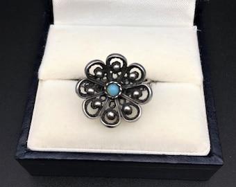 Soviet vintage statement flower filigree ring