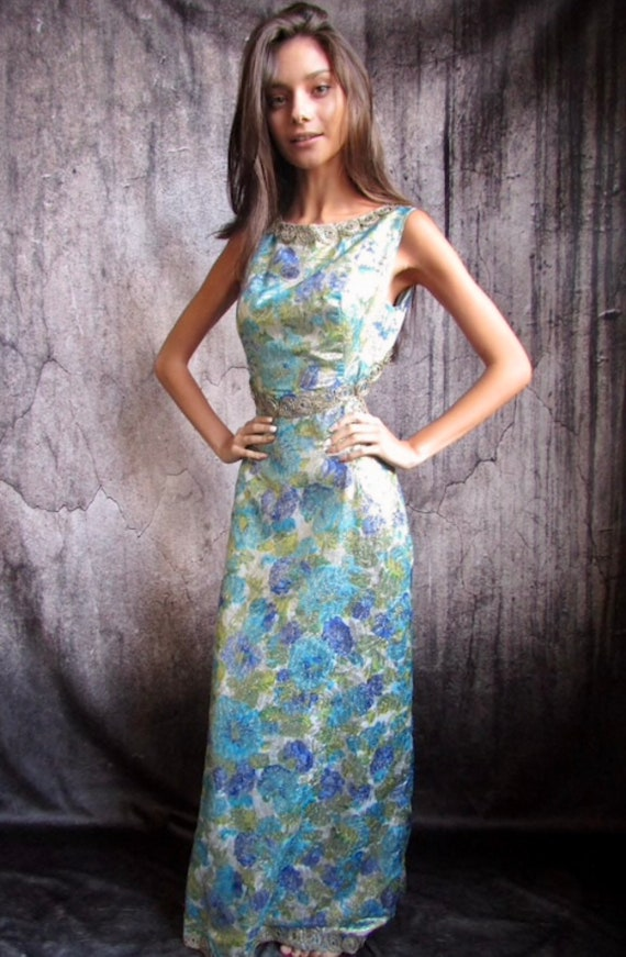 VINTAGE 60s 70s Psychedelic Metallic Backless Max… - image 4