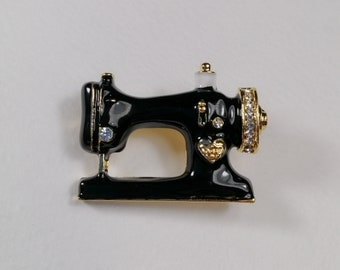 Bonsny Brand New Sewing Machine Brooch Scarf Pin Multi-coloured Tones Gift