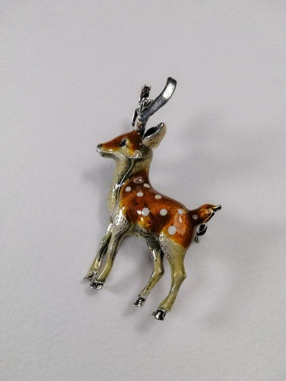 Details about  /Vintage Sterling Silver Handmade Pin Marked LM Deer Elk Stag or hoofed beast