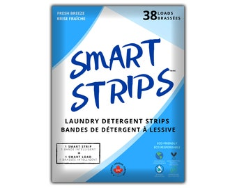 Smart Strips Laundry Detergent Strips - Hypoallergenic, Eco Friendly, Plastic-Free Laundry Sheets Ultra Concentrated Eco Strips Fresh Breeze