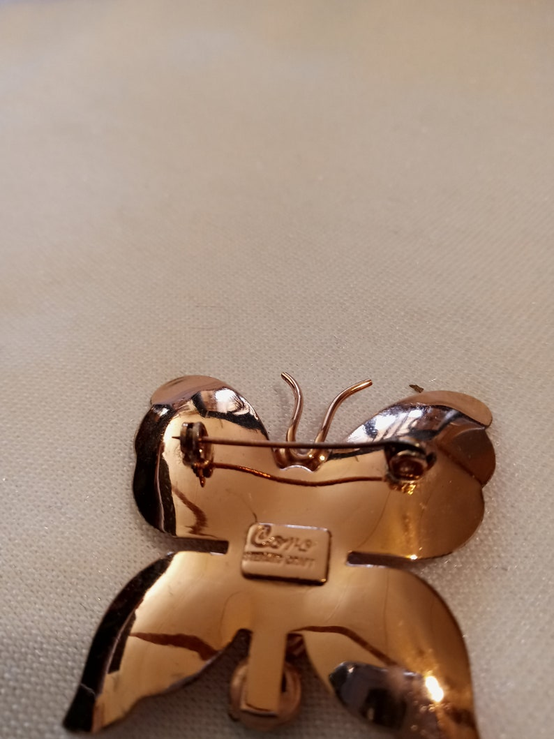 Wonderful signed CORO STERLING CRAFT purple rhinestone Butterfly brooch pin