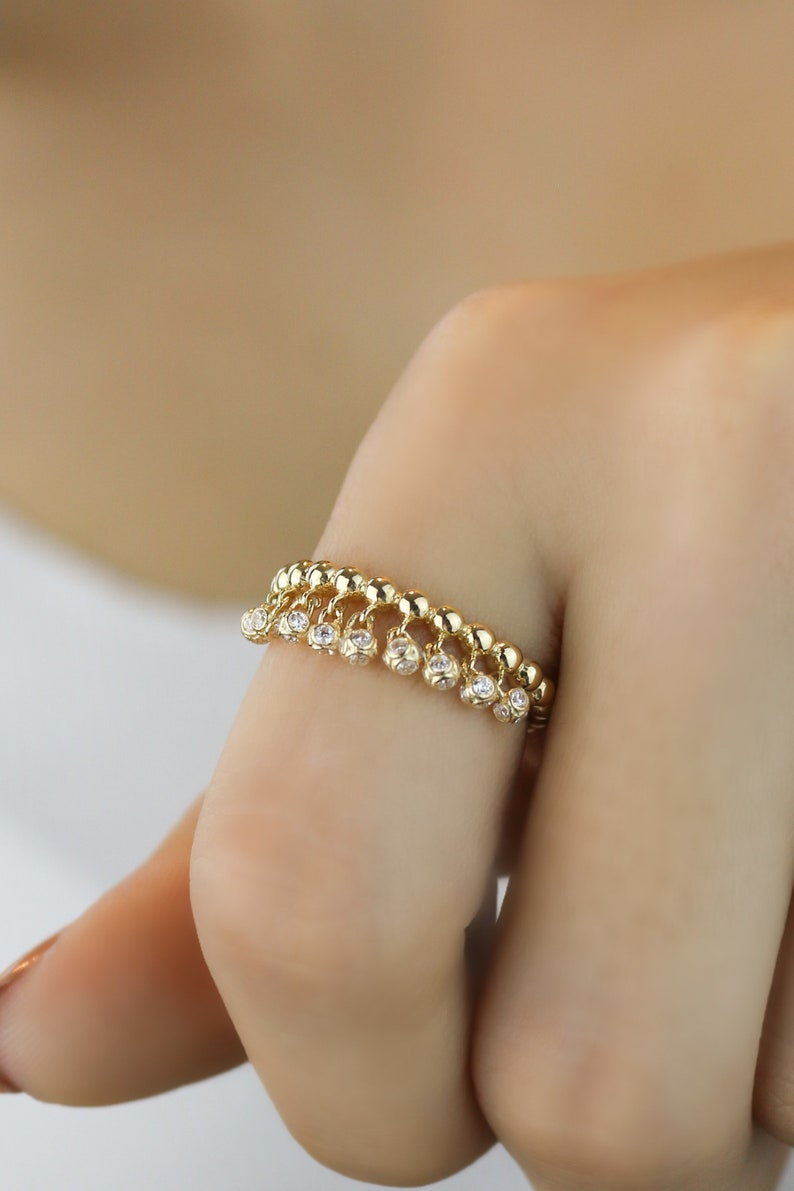Gift For Her Solid Gold Ring Pendant Stone Ball Ring 14K Gold Ring 585k Gold Hanging Stone Ring Gold Ball Ring Gift For Love
