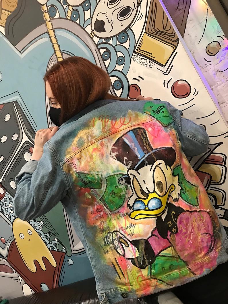 Donald Duck Alec Monopoly hand painted custom denim jacket customised jean jackets