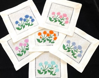 Set of 6 Embroidered Fabric Coasters Modern Coasters Cocktail Napkins