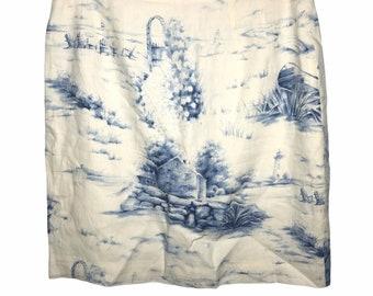Talbots Irish Linen Skirt Lake House Toile Print Cream and Blue 12P Vintage 1990s