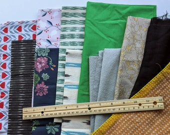 fabric remnant bundlefloral striped companion printsred green whitehigh quality--mixed lot of 3 pcs