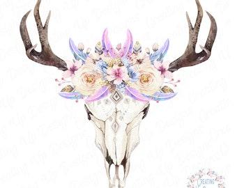 Digital Cow Skull, Floral Cow Skull, Sublimation Designs