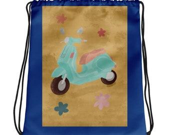 Blue Vespa Moped Drawstring Bag, Girls Book Bag, Cinch Bag, Cute Gym Sack, Women's Knapsack
