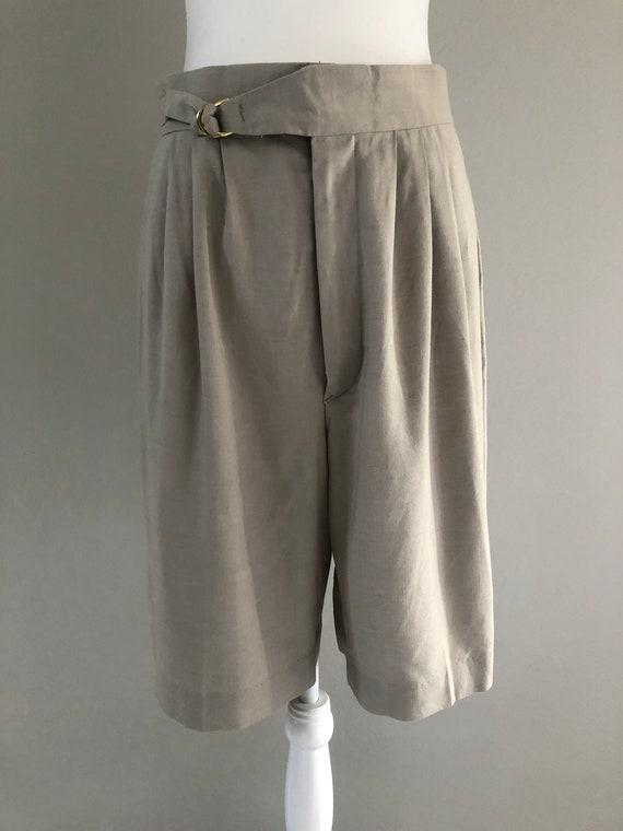 Vintage Stone High Waisted Pleated Shorts