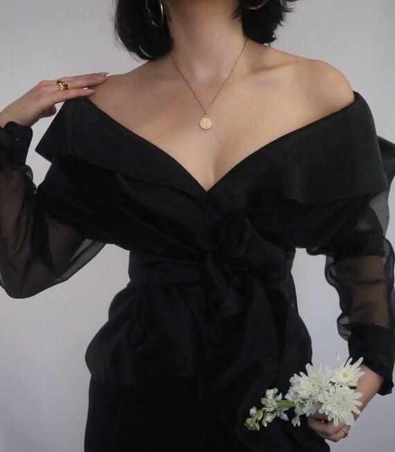 Vintage Noir Elegant Organza Wrap Blouse