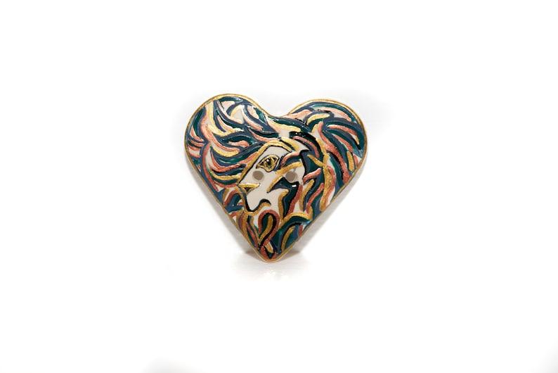 Lion motif Big ceramic heart button with lion Large button ceramic heart