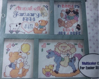 Bucilla Baby Collection Toys Birth Record Stamped Cross Stitch Kit 40856 1994