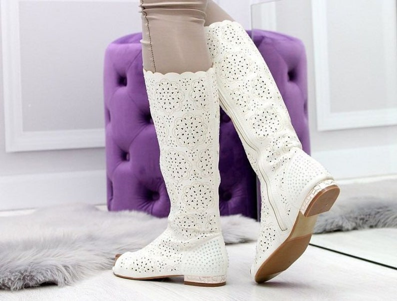 Woman genuine perforated cat out suede or leather cowboy western boots costume made boots spring summer knee high boots feets to wide calves