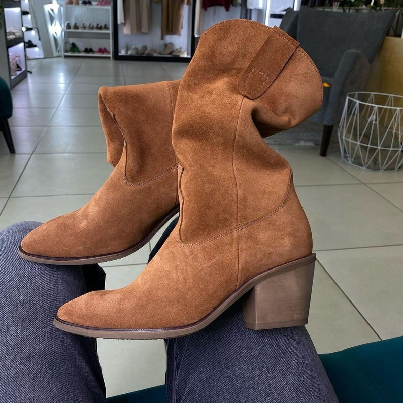 Woman genuine suede or leather fall autumn cowboy western boots costume made boots spring summer knee high boots feets to wide calves