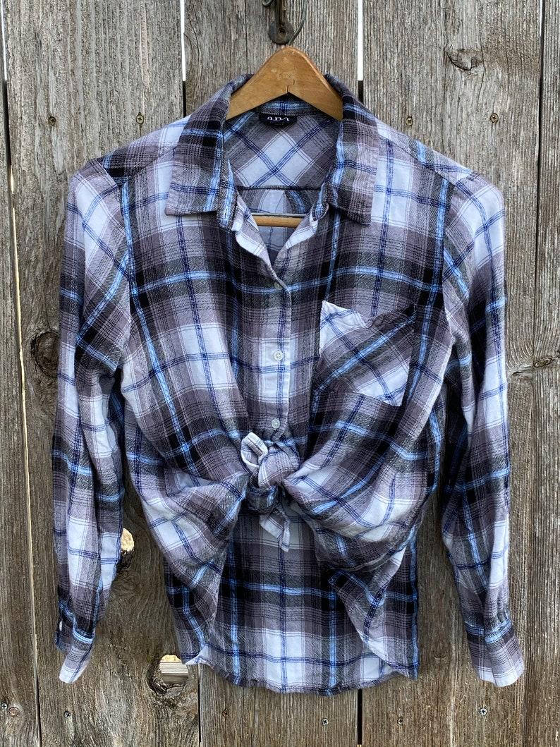 Gray and Blue Plaid Flannel Shirt Jacket Cream Upcycled Jayhawks Black
