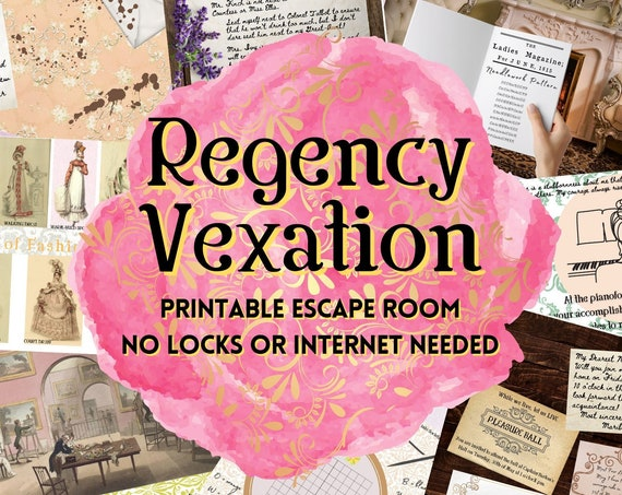 Regency Escape Room Game. London Season Adventure Party Game for Teens and Adults | DIY Escape Room Kit | Printable Logic Puzzle Game