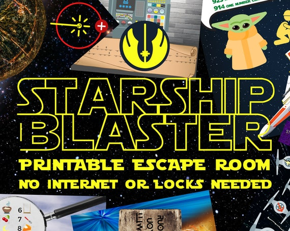 Escape Room Game. Star Ship Blaster Adventure Wars Game for Teens, Families, Adults and Kids | Fun Printable Puzzle Escape | DIY Escape Kit