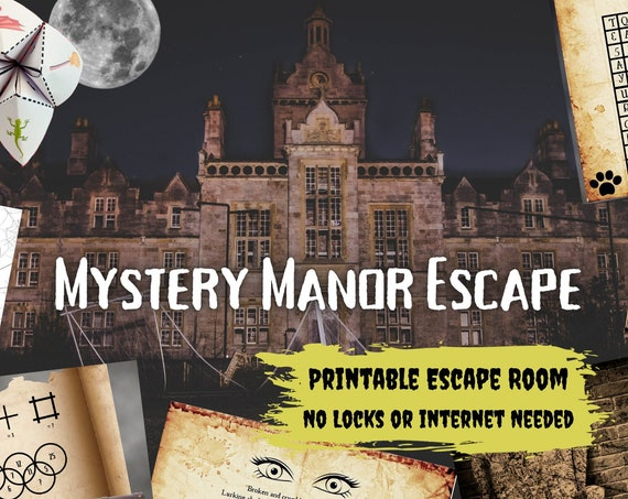 Escape Room Game. Mystery Manor Printable Adventure for Adults, Teens and Family | DIY Logic Puzzle Party Game | Advanced Escape Room Kit