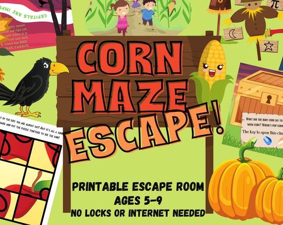 Kids Escape Room | Corn Maze Party Game | Fun Kids Escape Room Kit | DIY Fall Family Party Adventure | Easy Setup Printable Logic Puzzles