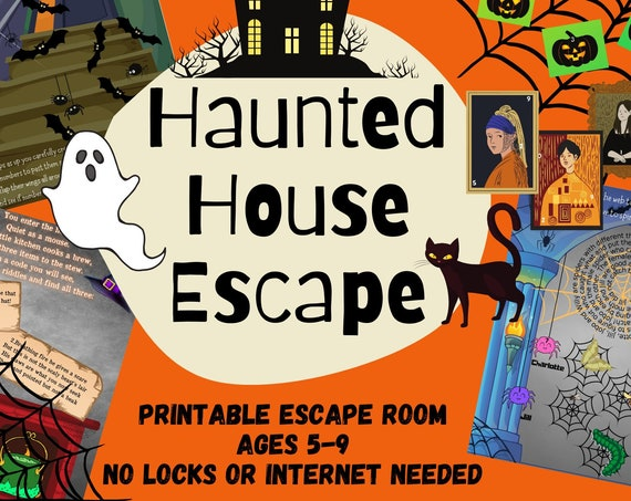 Kids Escape Room. Haunted House Party Game | Fun Kids Escape Room Kit | DIY Spooky Family Adventure | Easy Setup Printable Logic Puzzles