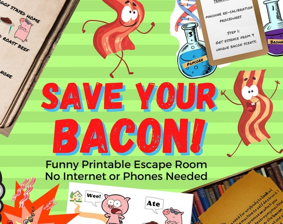 Escape Room Game. Funny Bacon Adventure Printable Party Game for Adults, Teens and Families | Fun Printable Escape Room Kit | DIY Escape