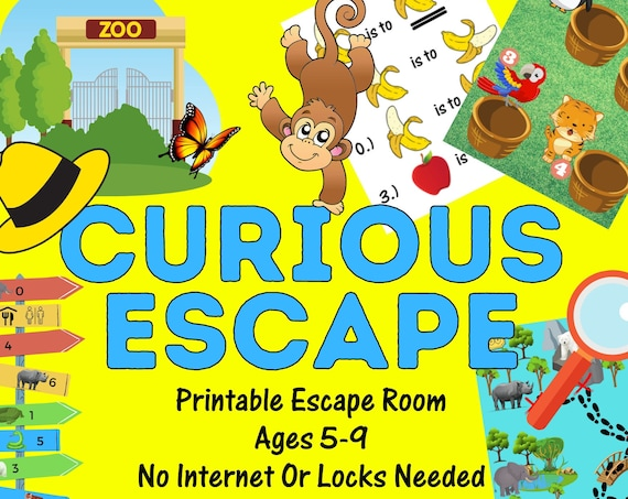 Kids Party Game Escape Room. Curious Escape at the Zoo Adventure Printable for Kids and Families | Fun Escape Room Kit | DIY Birthday Game