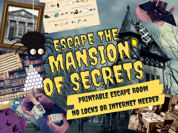 Escape Room Game. Mansion of Secrets Adventure Game for Families, Kids and Adults | Escape Room DIY Logic Puzzle Kit