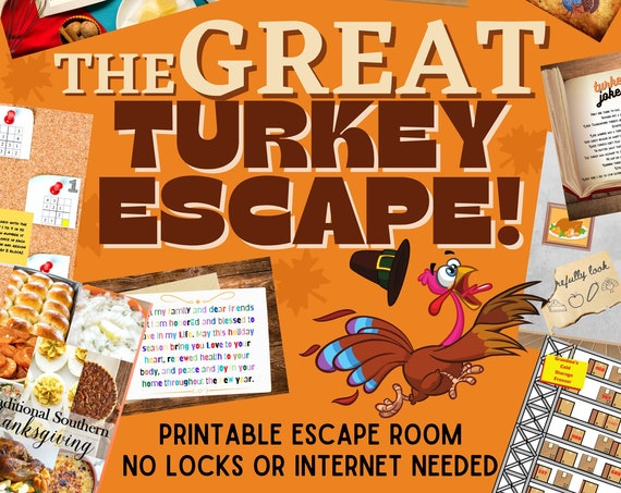 Turkey Escape Room Game | Thanksgiving Printable Party for Kids and Families | DIY Escape Room Kit | Logic Puzzle Adventure Game