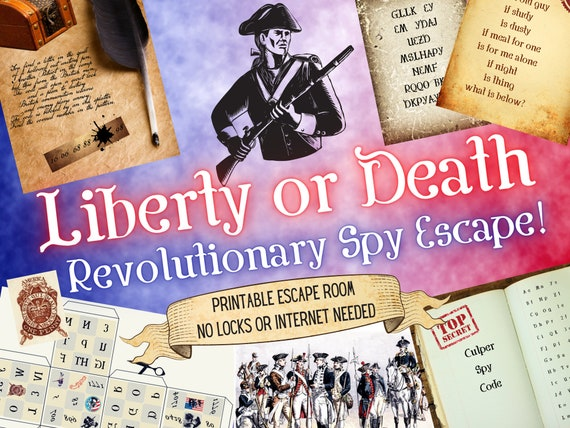Spy Escape Room. Revolutionary War Adventure Game for Families, Adults and Kids l Patriot Spy Printable Party l July 4th DIY Puzzle Kit
