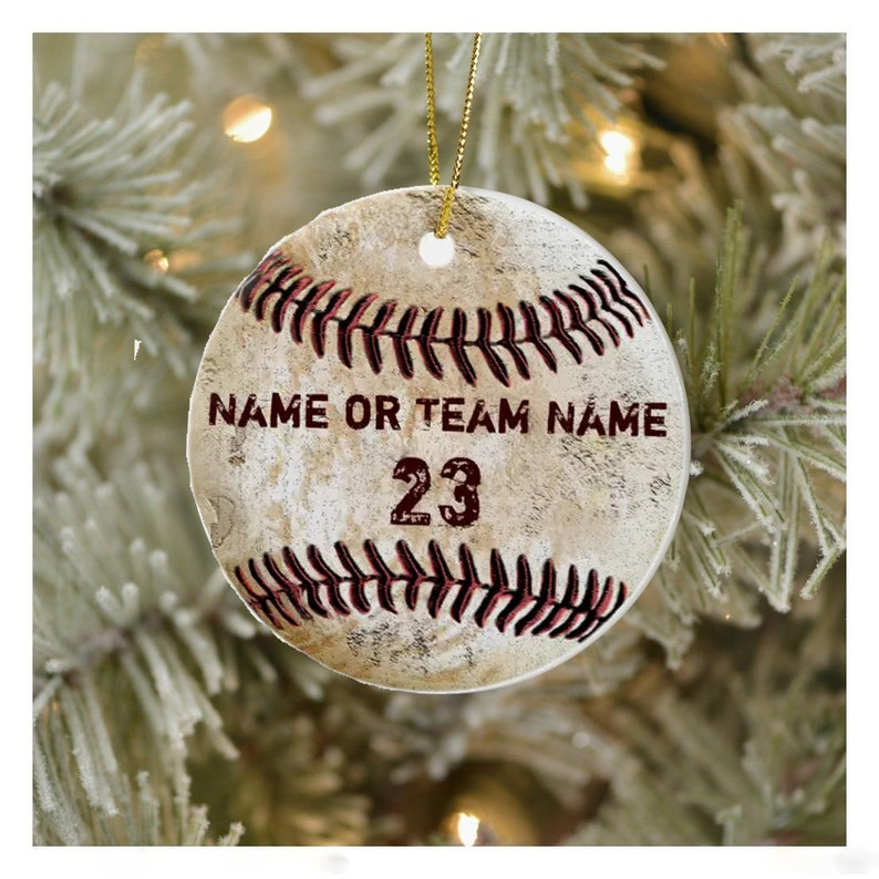 Gearhuman – Vintage Personalized Baseball Ornaments With Name And Number