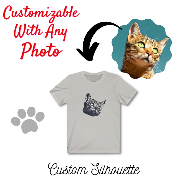 Any Photo to Silhouette Custom Personalized Picture Portrait Gifts Unisex Cat Dog Pet Lover Tee Custom Your Pet/'s Face Onto a T shirt