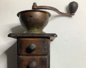 Antique Coffee Grinder Mill standup open hopper dovetail wood Nice Patina