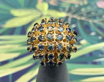 Sapphire Sputnik Snowball Ring