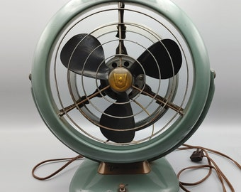 UNIQUE Vintage Desktop Japanese Silver Cutout Fan w Foldout Stand Arm