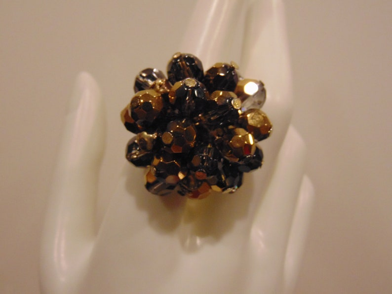 Brown Faceted Beads Cluster Ring Elastic Stretch Band