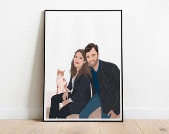 Custom portrait, family portrait, personalized gift for him,  personalized gift for her,  personalized friends gift